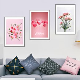 2019 flor rosa posters Nordic Wall Art Picture Pink Roses Flower Posters Modern Nordic Love Balloon Canvas Paintings For Office Living Room Decoración del hogar rebajas flor rosa posters