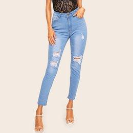 2019 красные горячие джинсы 2019 Новый стиль Европа и Америка женщин была платформа Red Hot Sales Эластичность с отверстиями Jeans Внешнеторговая T скидка красные горячие джинсы