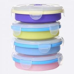 armazenamento de alimentos Desconto Ao ar livre Portátil Macio Lunch Boxs 200 ML Viagem Silicone Circular Dobrável Coberto Armazenamento Tigelas de Acampamento Tampas de Comida Recipiente LJJT208