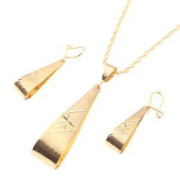 22k chapado en oro online-Conjunto de joyas etíopes Conjunto de pendientes colgantes de collar Joias Ouro 22k Joyas chapadas en oro Boda nupcial africana