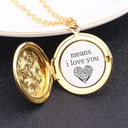 2020 paar locket halskette Mode Halskette Gravierte Means I Love You Gift For Lovers' Paar Can Öffnen Locket-Strickjacke-Kette Schriftzug Schmuck günstig paar locket halskette