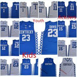 Jerseys parede john on-line-Juventude Kentucky Wildcats Anthony Davis Camisa de Basquete Crianças Devin Booker DeMarcus Primos Cidades John Wall Kentucky Wildcats Jersey S-3XL