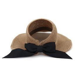 Летние вязаные шапки женские онлайн-Летняя мода женщины дамы козырек шапки с большим бантом декор хлопок трикотажные солнцезащитная шляпа складной верх воздушный колпачок Sunhat