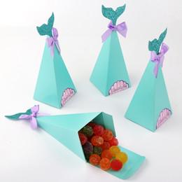 Коробочки для подарков онлайн-OurWarm 10Pcs Little Mermaid Gift Boxes Sweet Paper Candy Box Mermaid Birthday Party Decorations Kids Favor Boxes for Wedding