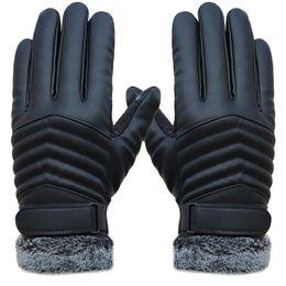 luvas sem dedos crochet livre Desconto 2018 Luvas de Inverno Luvas de Couro dos homens Anti Tiras de Luvas Luvas Térmicas Mão Mais Quente Luvas Para Homens homme Guantes
