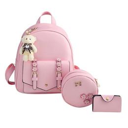 2019 sacchetto di spalla fiorito borse zaino Fiore donne 3pcs Autunno Inverno Shoulder Bag Set scuola per ragazze adolescenti Zaini mochila feminin sacchetto di spalla fiorito economici