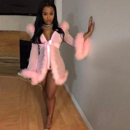 Ropa de dormir de malla online-Bonnie Forest Womens Faux Fur Nightwear Sexy ver a través de plumas Patchwork Sheer Mesh ropa de dormir túnica ropa interior vestido de Babydoll