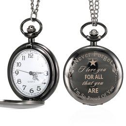 1 Unids Hombres Mujeres Reloj de Bolsillo de Cuarzo Carta Estuche Impreso Para Todos a Mi Hermano con Cadena Regalos Importantes LXH desde fabricantes