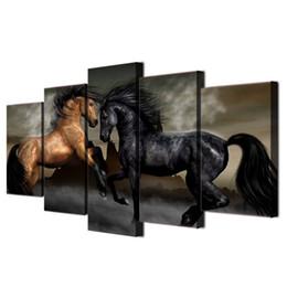 Конная покраска онлайн-Черный коричневый лошадь, 5 шт. HD холст печать новый дом украшения искусства живопись / без рамы / в рамке