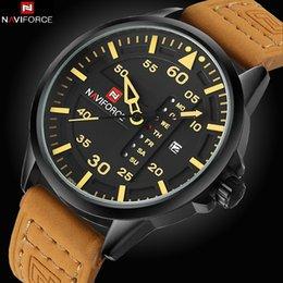 Japão movt relógio on-line-NAVIFORCE Date Japan Movt Square Men Quartz Casual Assista Army Sports Watch Men Relógios Relógio de couro masculino
