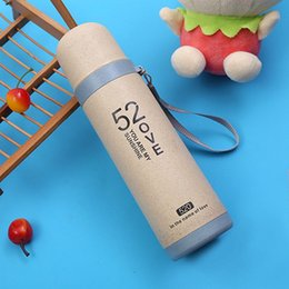 bullet stainless steel water bottle Promo Codes - Thermal Insulation Water Bottles With Portable Rope Printed 520 Plastic Shell 300ml Stainless Steel Liner Cup Bullet Couple Cup BH0806 TQQ