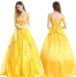 fantasia de princesa de princesa amarela Desconto Trajes de moda Adulto Mulheres Belle Vestidos de Festa Fantasia Meninas Flor Amarelo Longo Vestido de Princesa Feminino Anime Cosplay neve Vestido Branco