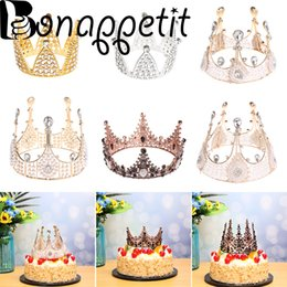 2019 torta di dolci dolci da sposa 1PC Shining Mini Crown Cake Topper Perla in metallo Happy Birthday WeddingEngagement Dolce Festa Cake Decor Dolci Regali sconti torta di dolci dolci da sposa