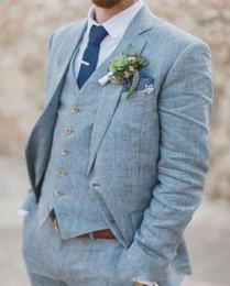2019 льняной синий костюм для мужчин Светло-голубой белье мужские костюмы для свадебных костюмов Slim Fit 3 шт. жених смокинги Лучшие мужские костюмы выпускного вечера (куртка+брюки+жилет) на заказ скидка льняной синий костюм для мужчин