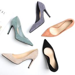 Ms fersen online-High Heels 2019 Ms Temperament Spitze Stiletto Schuhe Wildleder Flacher Mund Atmungsaktiv High Heels neuer Stil