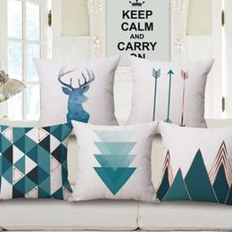 Cuscini plaid blu online-45 cm vendita calda stile nordico cotone federa blu verde letterario semplice cuscino copertura geometrica plaid colore arredamento per la casa cuscino