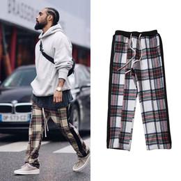 Мужские спортивные штаны Урожай шотландские клетчатые шерстяные брюки для бега Европейская американская уличная одежда Черные полосатые свободные брюки с решеткой от