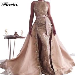 vestido de noche árabe dubai Rebajas Dos piezas de apliques musulmanes vestidos de noche Celebrity Prom Dress Nuevo Árabe Dubai encaje Couture Party vestido por encargo Vestidos
