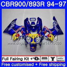 Carrosserie cbr 893 en Ligne-Corps pour HONDA CBR893 RR CBR900RR CBR893RR 94 95 96 97 260HM.2 CBR 893 CBR900 RR CBR 893RR Jaune rouge stock 1994 1995 1996 1997 Kit de coiffage