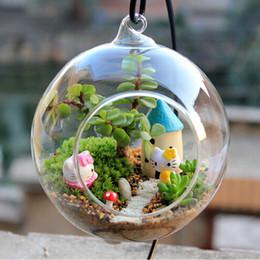 Terrarium globe online-2019 Terrarium Ball Globe Shape Clear Hanging Vaso di vetro Piante da fiore Contenitore Ornament Micro Paesaggio DIY Wedding Home Decor