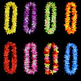 свежие белые розы Скидка Свадебные украшения Гавайские цветы ожерелье венки Трава юбки аксессуары ожерелье искусственные цветы красочные капли ST542