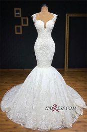 Gorgeous Jewel Neck Imágenes reales Con encaje completo Sirena Vestidos de novia Apliques de abajo Vestidos de novia sin mangas con escote redondo Plus Size desde fabricantes