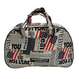 Bolsas de asas bandera online-Moda impermeable Oxford bolso de la bandera patrón de la bandera americana Bolsa de viaje Lona de mano grande Bolsas de equipaje