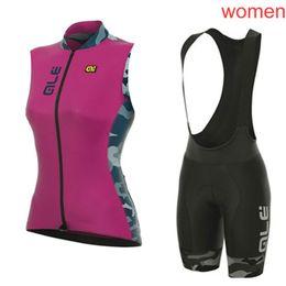 Top mtb marken online-2019 Top Brand New Team ALE Damen Radbekleidung ärmellose Trägerhose Sets Radtrikot MTB Bike Sportswear Gel Pad Wear