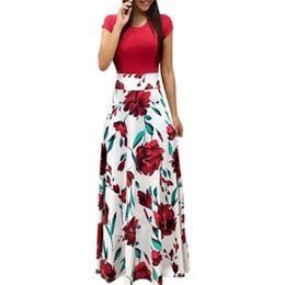 Vestido de noite europe novo on-line-Nova europa e américa estilo mulheres impressão floral maxi dress moda venda quente verão evening party elegante longo dress y190507