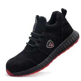 sapatas de trabalho ocasionais do preto dos homens Desconto Mens casual biqueira de aço preto de segurança do trabalho sapatos de algodão quente sapatilha de pelúcia anti-furo de couro macio botas de segurança do trabalhador de couro