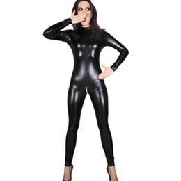 2020 aprire il culo xl Pelle Lady Magro nero tuta sexy Zipper Faux libero di trasporto donna Plus Size abiti di scena la tuta femminile apertura sul cavallo e Pole Dance Slim sconti aprire il culo xl