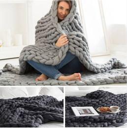 bunny baby bettwäsche Rabatt Heißer Großhandel geben Verschiffen 2019 frei Heiße Verkäufe klobige Knit-Decken-Wurfs-umfangreiche Decken-Strickgarn-Baby-Bett-Stuhl-Matten-Wolldecke