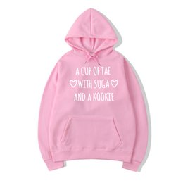 korean winter sweatshirt Promo Codes - Kpop Bts Sweatshirt Women'S Autumn Winter Letters Printed Tae Suga Kookie Hoodie Harajuku Korean Fashion Sweat Femme Drop Ship