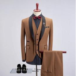 Custom Made Wedding Suits Shawl Lapel Man Suit Formal Khaki Groom Tuxedos 4Colors Groomsman Suits Men s Blazers (Jacket pants vest)