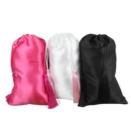 sacchetto di nappa bianco Sconti Estensioni in bianco dei capelli vergini bianche, rosa, nere che confezionano sacchetti di seta satinata con nappe di lusso, confezioni di pacchi regalo