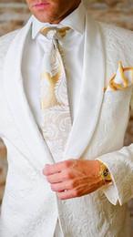 2019 costume de pantalon deux pièces d'argent Smoking blanc mariage 2019 fait sur mesure châle revers slim fit costume pour deux pièces de bal (costume + pantalon) 0789