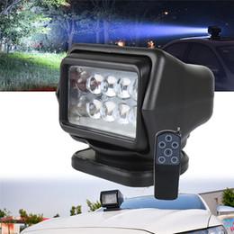 12v fernbedienung aus Rabatt 360-Grad-Fernbedienung 7inch LED-Scheinwerfer Flutlicht 50W drehen Licht für LKW-Scheinwerfer Einstellplatz SUV-Boots-Marine-treibendes Licht