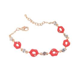 Charme Rouge Lèvres Cristal Bracelet Femmes Or Rose Argent Couleur Strass Bracelet Bijoux De Mode Fille Cadeaux ? partir de fabricateur