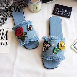 2019 zapatos de algodón Zapatos Diapositivas Flor de punta cuadrada Socofy Jelly Chanclas Planas Zapatillas Deslizadores Suave Denim Brillo Bling Cristal Tela de algodón PU zapatos de algodón baratos