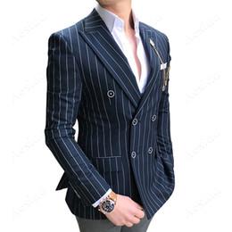 tuxedo alla moda e alla moda Sconti Aesido Elegante Completi giacche Slim Fit Prom Smoking Smoking a righe in lana a doppio petto vestito da festa formale Balzer Sposi da sposa