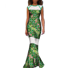 african wax women dresses Promo Codes - New African Wax Print Dresses for Women Bazin Riche Patchwork Lace Long Dresses Dashiki Women African Clothing Vestidos WY3663