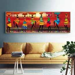 Arte africana da pintura a óleo on-line-Cuadros Etnicos Pinturas de Arte Tribal Africano Mulheres Dança Pintura A Óleo Imagem para Sala de estar Impressão de tela Decoração de Casa