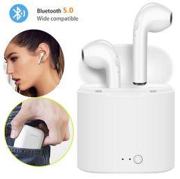 Micrófono inteligente online-i7s TWS Auricular inalámbrico Bluetooth Estéreo Auricular Bluetooth 5.0 Auriculares con caja de carga Mic para Iphone Xiaomi Todo teléfono inteligente