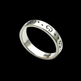 anéis planos de prata Desconto Jóias em aço de titânio G carta versão estreita 4mm homens e mulheres do crânio retro do punk casal ring simples