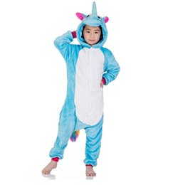 Ragazzi Ragazze Inverno Kigurumi Pigiama blu Unicorno Cartoon Anime Animal Onesies Sleepwear Fleece Tuta calda MX-043 da