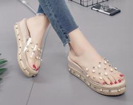 zapatillas de plataforma transparente Rebajas ¡Caliente !! Pearl word zapatillas verano nueva tendencia moda plataforma transparente sandalias de cuña tamaño 35 - 40
