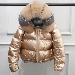 2019 золотые пуховики Натуральный мех зимняя куртка женская золотая теплая куртка из натурального меха женская белая утка пуховик зимнее водонепроницаемое пальто дешево золотые пуховики