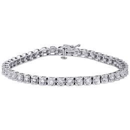 "Kanalset tennis armband online-14 Karat Weißgold Echte Runde Diamant Kanal Set Tennis Armband 7,25 ""| 4 mm | 3 CT"