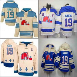 Quebec Nordiques Joe Sakic Hooded 19 HOme Azul Blanco Old Time Joe Sakic Pullover Sudadera Hoodies Jersey Hoody Stitched desde fabricantes