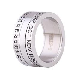Deutschland Anzahl und monat kalender brief drehbare ringe für männer titanium stahl punk party ring cool schmuck cheap steel calendar rings Versorgung